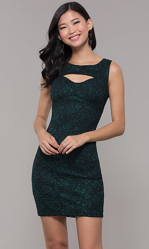 Image of short glitter lace holiday party dress. Style: EM-BKD-3928-024 Front Image