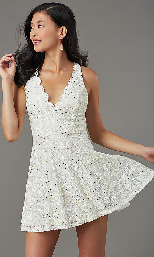 Image of short sequin-lace semi-formal party dress. Style: JU-11028 Front Image