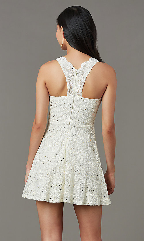 Image of short sequin-lace semi-formal party dress. Style: JU-11028 Back Image
