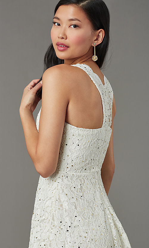 Image of short sequin-lace semi-formal party dress. Style: JU-11028 Detail Image 1
