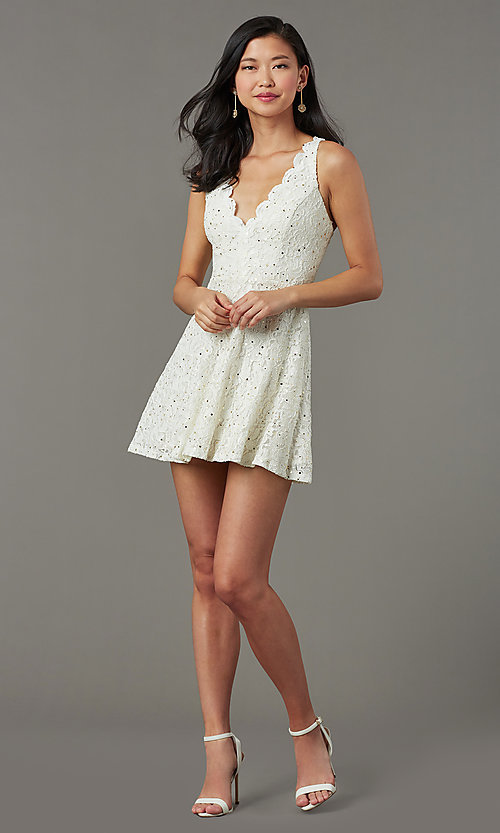 Image of short sequin-lace semi-formal party dress. Style: JU-11028 Detail Image 2