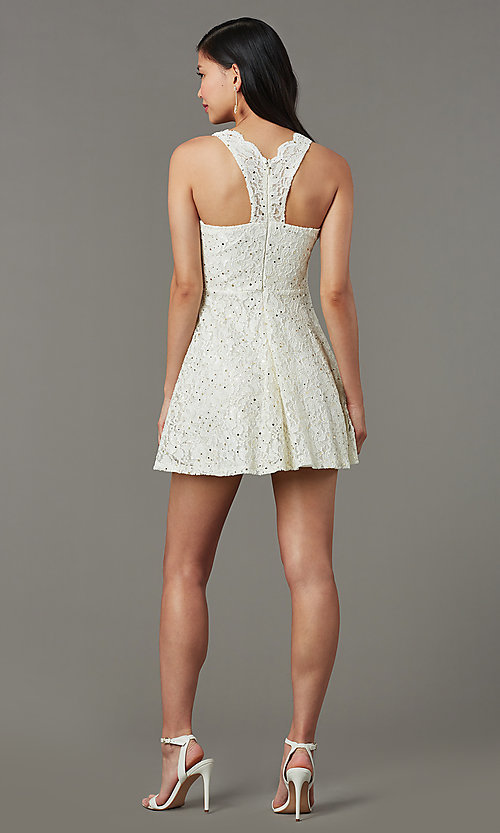 Image of short sequin-lace semi-formal party dress. Style: JU-11028 Detail Image 3