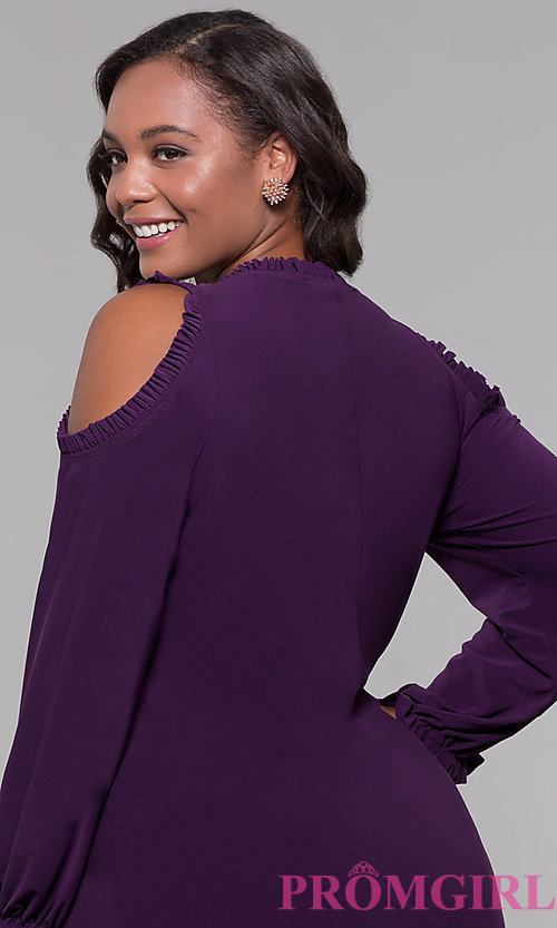 Image of sleeved cold-shoulder plus wedding-guest dress. Style: JU-TI-t90331 Detail Image 2