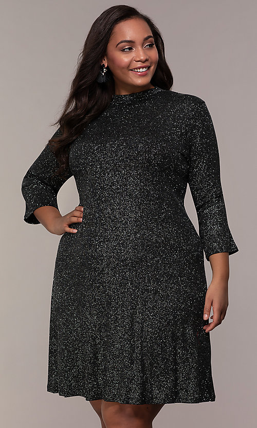 Black and Silver Sleeved Plus-Size Party Dress