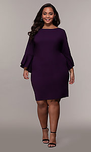 Image of plus-size short sheath 3/4-sleeve party dress. Style: JU-TI-t92542 Detail Image 3