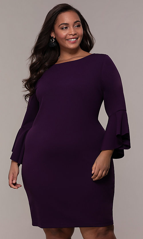 Image of plus-size short sheath 3/4-sleeve party dress. Style: JU-TI-t92542 Front Image