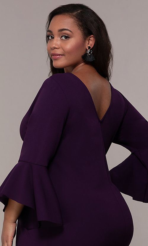 Image of plus-size short sheath 3/4-sleeve party dress. Style: JU-TI-t92542 Detail Image 2