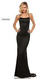 Image of open-back designer prom dress with scoop neckline. Style: SH-52613 Front Image