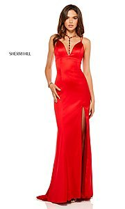 Image of v-neck long prom dress with corset-tie back. Style: SH-52548 Front Image