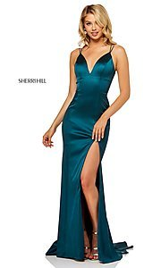 Image of v-neck long prom dress with corset-tie back. Style: SH-52548 Detail Image 3