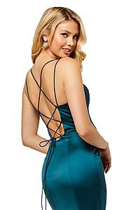 Image of v-neck long prom dress with corset-tie back. Style: SH-52548 Detail Image 5