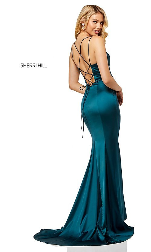 Image of v-neck long prom dress with corset-tie back. Style: SH-52548 Detail Image 4
