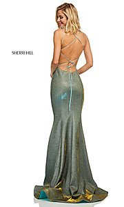 Image of corset-back long shimmer prom dress by Sherri Hill. Style: SH-52614 Detail Image 4