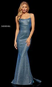 Image of corset-back long shimmer prom dress by Sherri Hill. Style: SH-52614 Detail Image 1