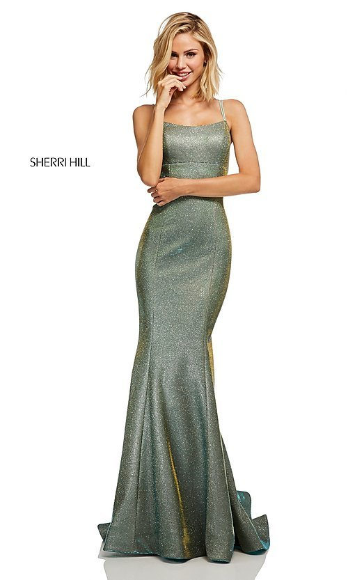 Image of corset-back long shimmer prom dress by Sherri Hill. Style: SH-52614 Detail Image 3