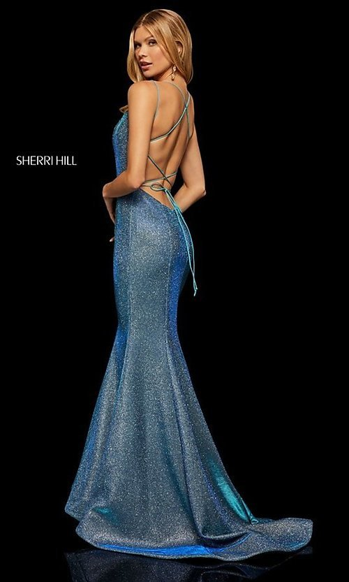 Image of corset-back long shimmer prom dress by Sherri Hill. Style: SH-52614 Detail Image 2
