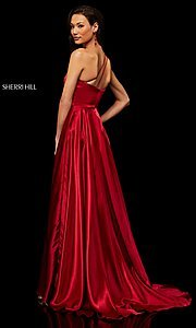 Image of long one-shoulder Sherri Hill prom dress with slit. Style: SH-52750 Detail Image 6