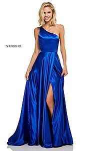 Image of long one-shoulder Sherri Hill prom dress with slit. Style: SH-52750 Detail Image 1