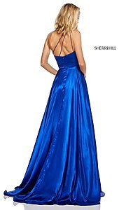 Image of long one-shoulder Sherri Hill prom dress with slit. Style: SH-52750 Detail Image 2