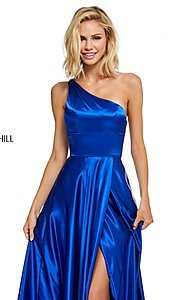Image of long one-shoulder Sherri Hill prom dress with slit. Style: SH-52750 Detail Image 3