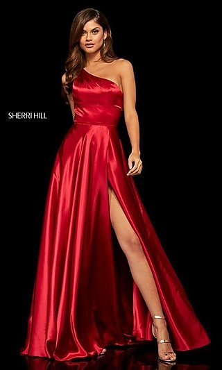Long One-Shoulder Sherri Hill Prom Dress with Slit