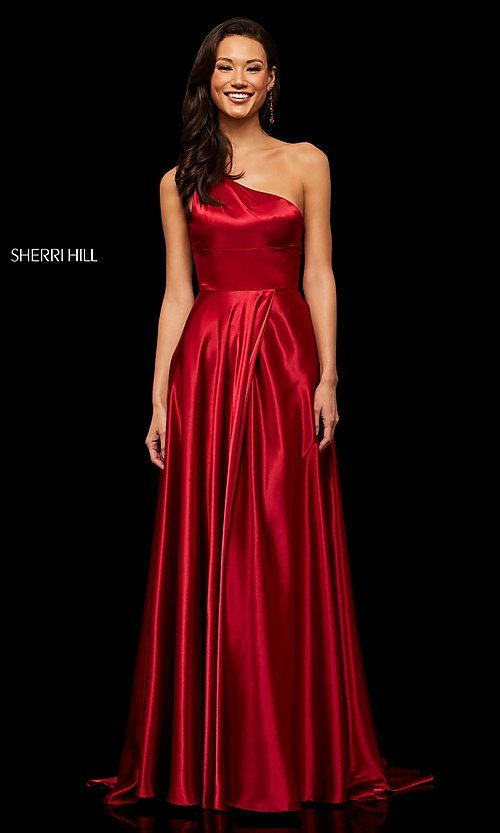 Image of long one-shoulder Sherri Hill prom dress with slit. Style: SH-52750 Detail Image 5
