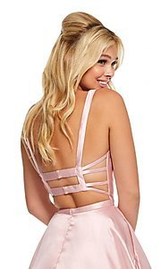 Image of caged-back long Sherri Hill prom dress with pockets. Style: SH-52715 Detail Image 5