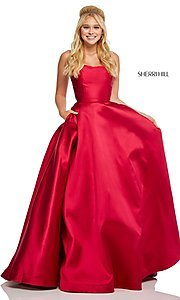 Image of caged-back long Sherri Hill prom dress with pockets. Style: SH-52715 Back Image