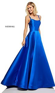 Image of caged-back long Sherri Hill prom dress with pockets. Style: SH-52715 Detail Image 3
