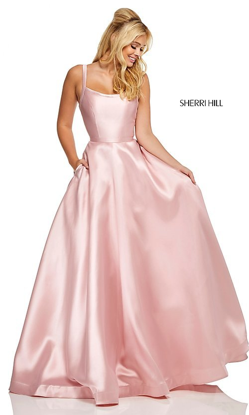 Image of caged-back long Sherri Hill prom dress with pockets. Style: SH-52715 Detail Image 4