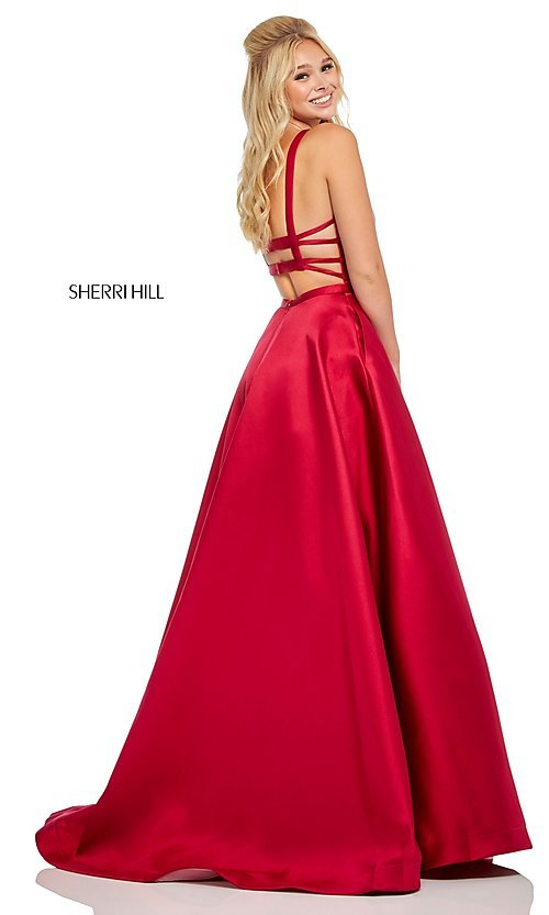 Image of caged-back long Sherri Hill prom dress with pockets. Style: SH-52715 Front Image