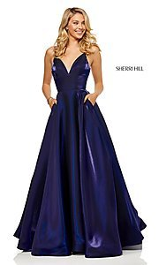 Image of long metallic a-line v-neck Sherri Hill prom dress. Style: SH-52424 Front Image