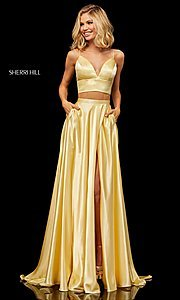 Image of two-piece a-line designer prom dress with pockets. Style: SH-52488 Front Image