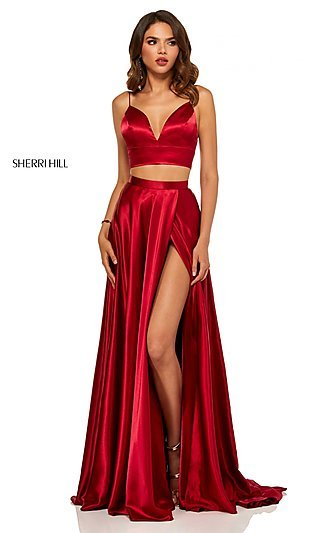Two-Piece A-Line Designer Prom Dress with Pockets