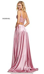 Image of two-piece long Sherri Hill prom dress with lace top. Style: SH-52600 Back Image