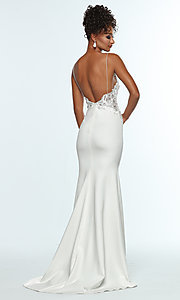 Image of sleeveless prom dress with embroidered bodice. Style: ZG-31307 Back Image