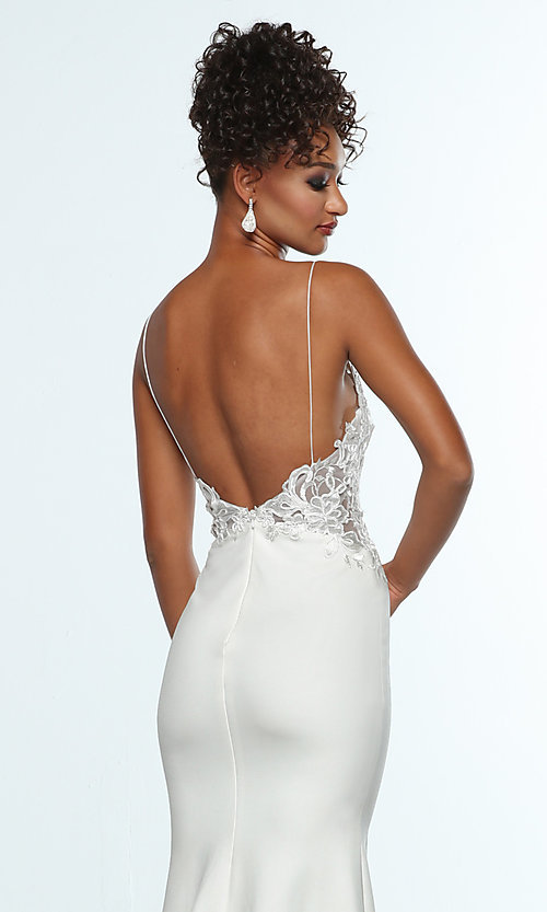 Image of sleeveless prom dress with embroidered bodice. Style: ZG-31307 Detail Image 2