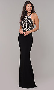 Image of long jersey prom dress with sequined details. Style: ZG-31320 Detail Image 3