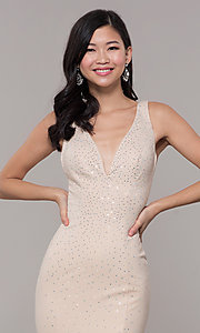 Image of long beaded v-neck nude prom dress by Zoey Grey. Style: ZG-31324 Detail Image 1