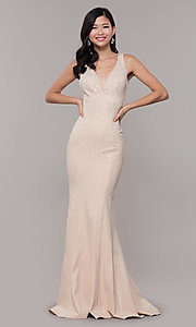 Image of long beaded v-neck nude prom dress by Zoey Grey. Style: ZG-31324 Detail Image 3