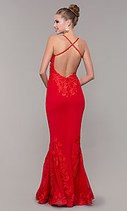 Image of long Zoey Grey red prom dress with embroidery. Style: ZG-31333 Back Image