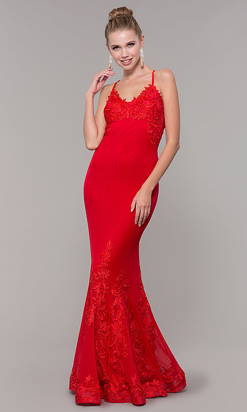 Image of long Zoey Grey red prom dress with embroidery. Style: ZG-31333 Detail Image 3