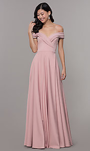 Image of off-the-shoulder sweetheart long prom dress. Style: ZG-31347 Front Image