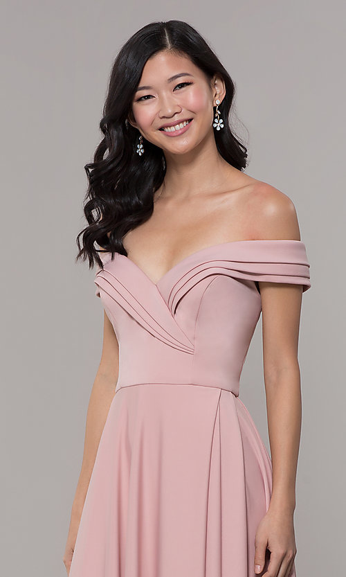 Image of off-the-shoulder sweetheart long prom dress. Style: ZG-31347 Detail Image 1
