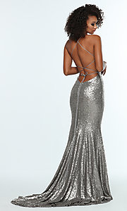 Image of backless v-neck sequin long prom dress with corset. Style: ZG-31435 Detail Image 7