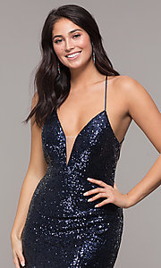 Image of backless v-neck sequin long prom dress with corset. Style: ZG-31435 Detail Image 1