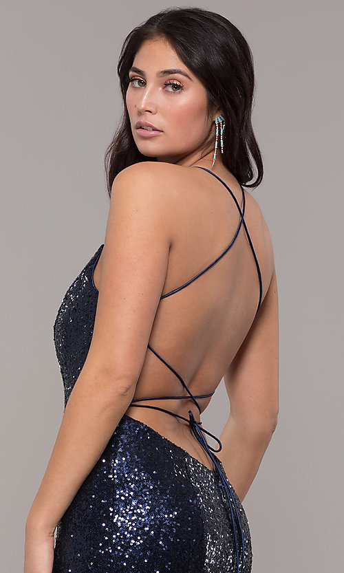 Image of backless v-neck sequin long prom dress with corset. Style: ZG-31435 Detail Image 2