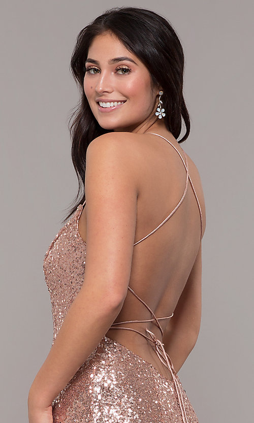 Image of backless v-neck sequin long prom dress with corset. Style: ZG-31435 Detail Image 6