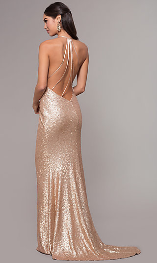 Long Sequin Cowl-Neck Prom Dress by PromGirl