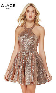 Image of rose gold short sequin homecoming party dress. Style: AL-4056 Front Image
